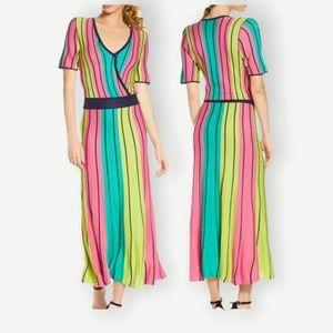 NWT FOXIEDOX Sz S Knit Dress Pink & Neon Stripes